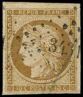 EMISSION DE 1849 - 1    10c. Bistre-jaune, Nuance Foncée, Obl. PC 3431, Frappe TTB - 1849-1850 Ceres