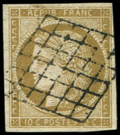 EMISSION DE 1849 - 1    10c. Bistre-jaune, Oblitéré GRILLE, TB - 1849-1850 Ceres