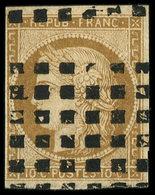 EMISSION DE 1849 - 1    10c. Bistre-jaune, Obl. GROS POINTS, Filet De Gauche Coupé, B/TB - 1849-1850 Ceres