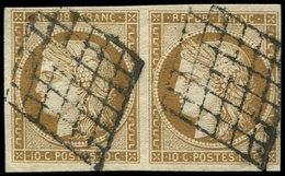 EMISSION DE 1849 - 1a   10c. Bistre-brun, PAIRE Oblitérée GRILLE, TB - 1849-1850 Ceres