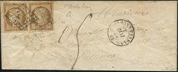 Let EMISSION DE 1849 - 1a   10c. Bistre-brun, PAIRE Obl. GRILLE S. Env., Càd CLERMONT FERRAND 2/5/51 Et Taxe 05 à La Plu - 1849-1850 Ceres