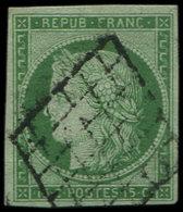 EMISSION DE 1849 - 2    15c. Vert, Obl. GRILLE, TTB. S - 1849-1850 Ceres