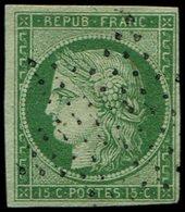 EMISSION DE 1849 - 2    15c. Vert Clair, Obl. ETOILE, TTB - 1849-1850 Ceres