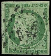 EMISSION DE 1849 - 2    15c. Vert, Obl. Los. DS2, TB. C - 1849-1850 Ceres