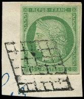 EMISSION DE 1849 - 2    15c. Vert, Obl. GRILLE Sur Fragment, TB - 1849-1850 Ceres