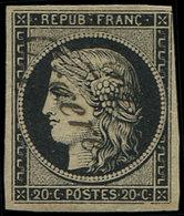 EMISSION DE 1849 - 3    20c. Noir Sur Jaune, Obl. Cursive 27/ORGERES, TB. Br - 1849-1850 Ceres