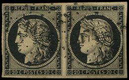 EMISSION DE 1849 - 3    20c. Noir Sur Jaune, PAIRE Obl. PC 1474 De GUINGAMP, Frappes TTB, Certif. JF Brun - 1849-1850 Ceres