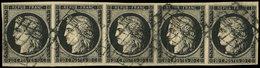 EMISSION DE 1849 - 3    20c. Noir, BANDE De 5 Obl. GRILLE, TTB. Br - 1849-1850 Ceres