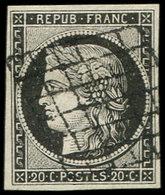 EMISSION DE 1849 - 3a   20c. Noir Sur Blanc, Oblitéré GRILLE, TTB - 1849-1850 Ceres
