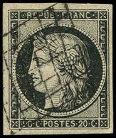 EMISSION DE 1849 - 3a   20c. Noir Sur Blanc, Obl. GRILLE, TTB - 1849-1850 Ceres