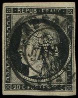 EMISSION DE 1849 - 3a   20c. Noir Sur Blanc, Obl. Càd T15 5 JANV 49, Clair, Frappe Moyenne, B/TB - 1849-1850 Ceres