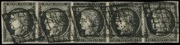 EMISSION DE 1849 - 3a   20c. Noir Sur Blanc, BANDE De 5, Un Ex. Filet Touché, Obl. GRILLE (un Peu Lourde), Une BANDE De - 1849-1850 Ceres