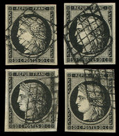 EMISSION DE 1849 - 3a   20c. Noir Sur Blanc (1) Et 20c. Noir Sur Teinté (3), Tous Obl. GRILLE, TB, N° Et Cote Maury - 1849-1850 Ceres