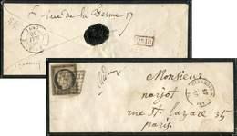 Let EMISSION DE 1849 - 3b   20c. Noir Sur CHAMOIS, Obl. GRILLE S. Env., Càd T15 CLERMONT FERRAND 17/5/50, TB - 1849-1850 Ceres