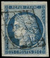 EMISSION DE 1849 - 4    25c. Bleu, 3 Grandes Marges, Filet De Voisin En Haut, Obl. GRILLE, TTB/Superbe - 1849-1850 Ceres
