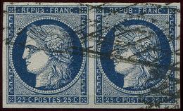 EMISSION DE 1849 - 4    25c. Bleu, PAIRE Obl. GRILLE SANS FIN, TB - 1849-1850 Ceres