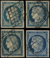 EMISSION DE 1849 - 4    25c. Bleu, 4 Ex. Obl. GRILLE, Ex. Choisis, TB/TTB - 1849-1850 Ceres