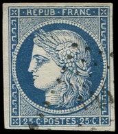 EMISSION DE 1849 - 4a   25c. Bleu Foncé, Obl. PC, Frappe Légère, Effigie Dégagée, TTB - 1849-1850 Ceres