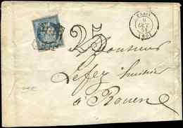 Let EMISSION DE 1849 - 4    25c. Bleu, Obl. GRILLE S. Env., Càd PARIS 6/10/51 Et Taxe 25 DT Pour DOUBLE PORT, TB - 1849-1850 Ceres