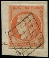 EMISSION DE 1849 - 5    40c. Orange, Oblitéré GRILLE S. Fragt, TB - 1849-1850 Ceres