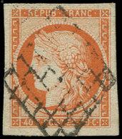 EMISSION DE 1849 - 5    40c. Orange, Obl. GRILLE, Marges énormes, Superbe - 1849-1850 Ceres