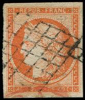 EMISSION DE 1849 - 5    40c. Orange, Oblitéré GRILLE, TB. C - 1849-1850 Ceres