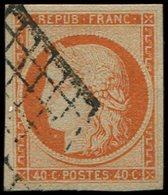 EMISSION DE 1849 - 5    40c. Orange, Oblitéré GRILLE, TB - 1849-1850 Ceres