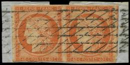 EMISSION DE 1849 - 5    40c. Orange, PAIRE (t. De G. Filet Effl.), Obl. GRILLE SANS FIN S. Fragt, TB - 1849-1850 Ceres