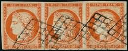 EMISSION DE 1849 - 5    40c. Orange, BANDE De 3 Oblitérée GRILLE, Frais Et TB. C - 1849-1850 Ceres