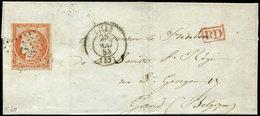 Let EMISSION DE 1849 - 5    40c. Orange, Obl. PC 1727 S. LSC, Càd T15 LILLE 25/5/53, Arr. Càd Rouge GAND 28/5, TB - 1849-1850 Ceres