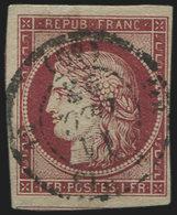 EMISSION DE 1849 - 6     1f. Carmin, Obl. Càd PARIS 11/12/52, Inf. Pelurage Marge Sup., Néanmoins RR Et TB - 1849-1850 Ceres