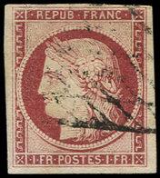 EMISSION DE 1849 - 6     1f. Carmin, Bien Margé, Oblitéré GRILLE Sans FIN, Frais Et TTB. C - 1849-1850 Ceres