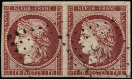 EMISSION DE 1849 - 6     1f. Carmin, PAIRE Obl. PC, Frais, TB/TTB. C - 1849-1850 Ceres