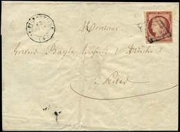 Let EMISSION DE 1849 - 6     1f. Carmin, Obl. GRILLE S. Env., Càd T15 St PIERREVILLE 13/1/50, TRIPLE Port Pour PRIVAS 14 - 1849-1850 Ceres
