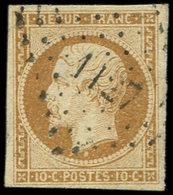 PRESIDENCE - 9    10c. Bistre-jaune, Obl. PC 1127, Frappe TTB - 1852 Louis-Napoleon