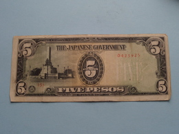 Five PESOS 5 ( 0423925 ) The JAPANESE Government ( For Grade, Please See Photo ) ! - Japan