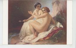 """NUS - FEMMES - TABLEAUX - """"Deux Jeunes Filles à La Grotte """" - Par T.A. DE NEFF - Edit. LAPINA - Tableaux"""