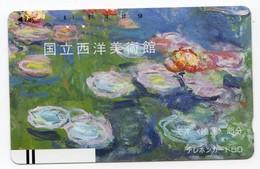 JAPON TELECARTE ANCIENNE NTT FRONTBAR BARCODE 110-12700 PEINTURE CLAUDE MONET LES NYMPHEAS - Peinture