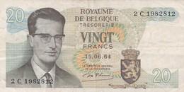 BELGIQUE 20 FRANCS 15/06/1964 - [ 6] Schatzamt