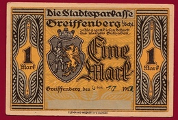 Allemagne 1 Notgeld  1 Mark  Stadt  Greiffenberg (Pologne---Gryfow) (RARE) Dans L 'état N °4605 - Collections