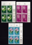 ISRAEL, 1961, Cylinder Blocks Without Tabs Of Mint Stamps, Independence - Flowers, SG211-213, X1026 - Blokken & Velletjes