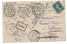 """Semur En Auxoix  Saulieu    Marcilly -Ogny  """"inconsur Seinnu""""   """"retour à L'envoyeur""""  Sur Cpa 1911 - Marcophilie (Lettres)"""