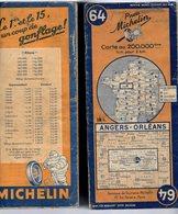 Carte Géographique MICHELIN - N° 064 ANGERS - ORLÉANS 1945 - Cartes Routières