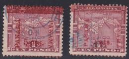 Panama, Scott #183, 184b, Used, Map Surcharged, Issued 1906 - Panama