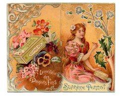 Chromo Calendrier 1900 Biscuits Suprème Pernot Livret Jeune Femme Gourmande Gourmandise Lith La Compagnie Française - Pernot