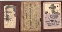 WW2 - Rare HUNGARIAN 1938 POLICE MEMBER IDENTIFICATION BOOKLET + 1944 POLICE MEMBER ID CARD - Historische Dokumente