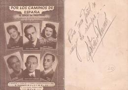 Tarjeta Publicitaria 1940' - Por Los Caminos De España Con Autógrafo Al Dorso Antonio Navarro - Autógrafos