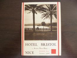 Nice. Hôtel Bristol: Dépliant Publicitaire. - Nice