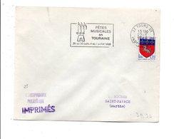 FLAMME FETES MUSICALES EN TOURAINE TOURS 1968 - Marcofilie (Brieven)