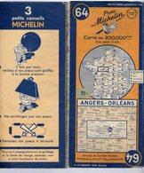 Carte Géographique MICHELIN - N° 064 ANGERS - ORLÉANS 1949-2 - Strassenkarten